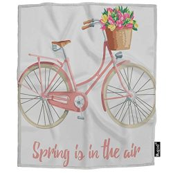 Mugod Bicycle Blanket Spring is in The Air Lettering Flower Basket Pastel Colours Fuzzy Soft Coz ...