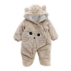 Baby Clothes Girl Winter,Newborn Baby Girls Boys Solid Cartoon Cat Velvet Hooded Jumpsuit Romper ...