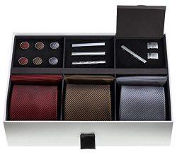 Premium Men's Gift Tie Set – Silky Necktie Pocket Squares Tie Clips Cufflinks For Men
