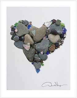 Donald Verger LOVE- Heart Stones & Sea Glass Heart Poster Print. 11×14 Great For Framin ...