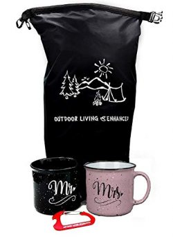 Mr and Mrs Couples Camping Pack Ceramic Coffee Mug Set – Unique Wedding Gift For Bride and ...