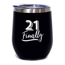 21 Finally – 12 oz Stainless Steel Stemless Wine Tumbler Sippy Cup with Lid – 21st B ...