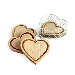 CVHOMEDECO. Heart Shape Wooden Coaster Set with Basket Holder, Engraving Wood Coasters for Wine  ...