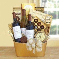 Golden Vineyard Gourmet Wine Food Gift Basket