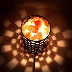 Himalayan Glow Natural Himalayan Salt Lamp in Projective Design Metal Basket with Dimmable Cord
