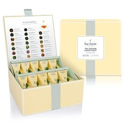 Tea Forté Tea Tasting Assortment Tea Chest Gift Box, 40 Handcrafted Pyramid Tea Infuser Bags  ...