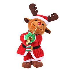 Livoty Christmas Electric Dancing Singing Toy Santa Reindeer Animated Plush Toy Stuffed Toys (A)