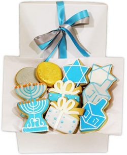 Hanukkah Cookie Gift Basket assorted hand decorated vanilla set of 10 Hanukkah designed in Gift  ...