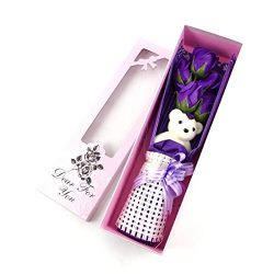 Adabele Gifts I Love You Purple Flower Bouquet Scented Soap Roses with Cute Teddy Bear Anniversa ...