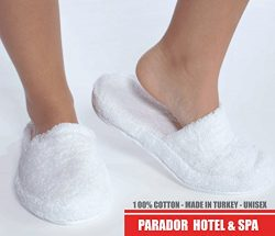 Turkishtowels Luxury 100% Cotton Terry SPA Slippers in White – Medium