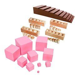 MonkeyJack Montessori Sensorial Family Set Brown Stair+Pink Tower+Cylinder Blocks Toy Gift for Kids