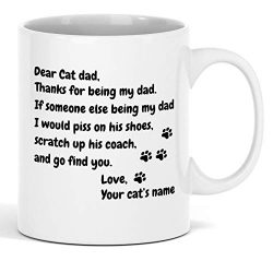 Personalized Cat Dad Mug Custom Pet Name Coffee Cup 11 oz – Great Personalized Gift Idea F ...