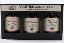 Amish Wedding Yuletide Collection, One (1) Each of 18 Ounce Strawberry Jam, Black Raspberry Jam  ...