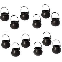 EORTA 12 Pieces Mini Candy Baskets Candy Kettles with Handle Skull and Witch Gallipot Designed P ...