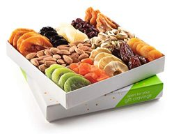 Holiday Nuts and Dried Fruit Gift Basket, Gourmet Mix of Assorted Fresh Nuts & Dried Fruit T ...