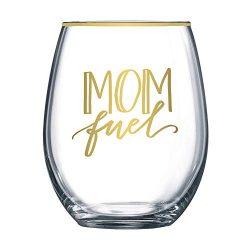 Mom Fuel Wine Glass – 20 oz Stemless Wine Glass – Funny Mom Wine Glass | Great Gift  ...