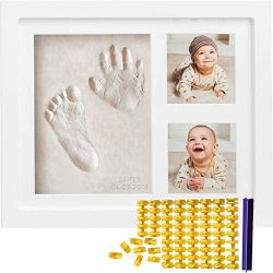 Baby Handprint Kit & Footprint Kit (FREE Date & Name Stamp) Clay Picture Frame for Newbo ...