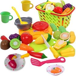 Cutting Play Vegetables and Fruits with Cooking Toys for Toddlers – Includes Beautiful Pla ...