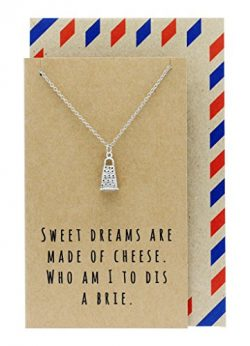 Quan Jewelry Gifts for Mom, Funny Gifts, Cheese Grater Necklace on Funny Quote Card, 16 inches t ...