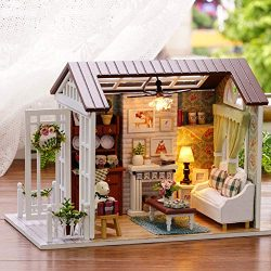 Cactus Dollhouse Miniature DIY House Kit Creative Room with Furniture for Romantic Gift (Happy Time)