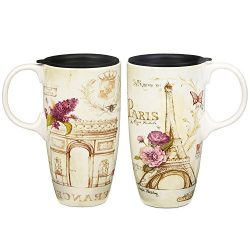 CEDAR HOME Travel Coffee Ceramic Mug Porcelain Latte Tea Cup With Lid in Gift Box 17oz., France  ...