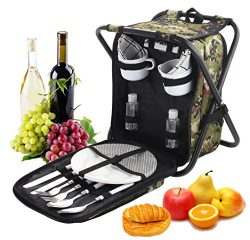ROMANTICIST Heavy Duty Picnic Backpack Stool with Cooler & Tableware – All-in-1 Foldin ...