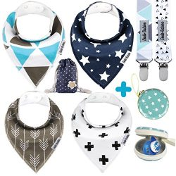 BabyBandana DroolBibs by Dodo Babies + 2 Pacifier Clips + Pacifier Case in a Gift Bag, Pack of ...