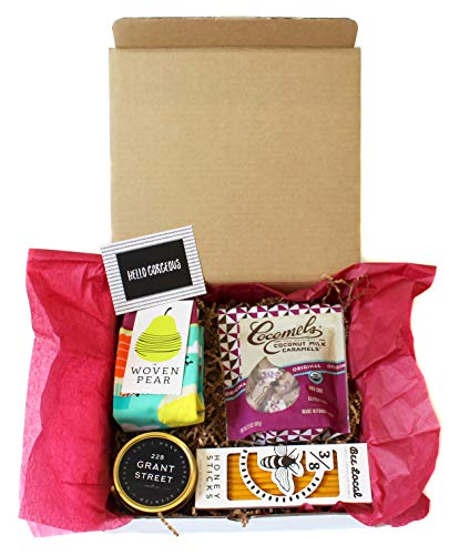 Gifted Gift Basket For Women Soy Candle Salted Caramels Socks Honey Sticks