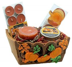 Combined Brands Pumpkin Cheesecake Scented Candles Gift Set: Tealight Pillar Scented Candles, Pu ...