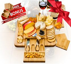 Bamboo Cheese Board Set With 4 x Cheese Knives Cutlery in Slide Drawer PLUS FREE Gift – 4  ...