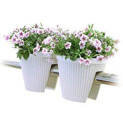 T4U Deck Balcony Railing Planter Flower Box 11.5″ Beige Set of 2, Plastic Rattan Flower Br ...