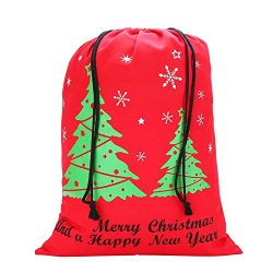 Canvas Christmas Drawstring Gift Bag – Great for Large and Small Holiday Favors – De ...