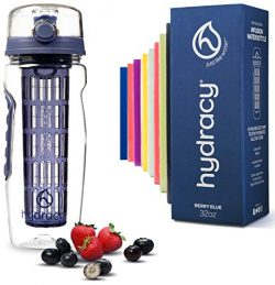 Hydracy Fruit Infuser Water Bottle – 32 Oz Sports Bottle with Full Length Infusion Rod, Ti ...