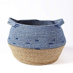 Natural Seagrass and Cotton Rope Basket – Home Décor, Belly Basket, Plant Pot Cover, Nurse ...