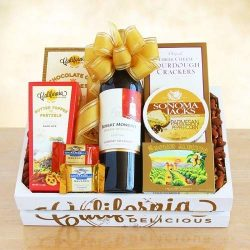 Golden State Wine Crate Food Gift Basket