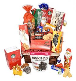 Christmas Gift Holiday Premium Basket – Snacks, Chocolates, Starbucks Hot Cocoa, Truffles, ...