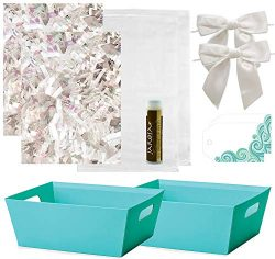 Pursito Gift Basket Making Kit Includes: Turquoise Teal Market Tray, Crinkle Cut Paper, Cellopha ...
