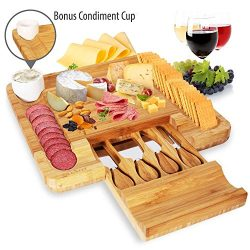 Bamboo Cheese Cutting Board Set – Bonus Condiment Cup – Closing Drawer Tray, 4 Stain ...