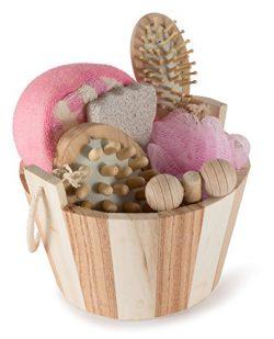 Wooden Spa Sauna 7 Piece Set Gift Basket – Perfect Home Spa, Sauna & Treatment Set for ...
