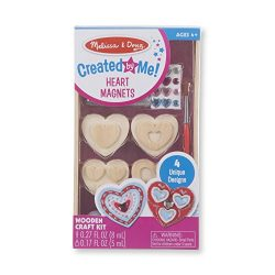 Melissa & Doug Created by Me! Wooden Heart Magnets Craft Kit (4 Designs, 4 Paints, Stickers, ...