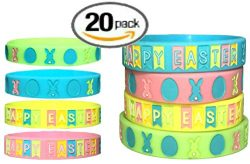 A- Easter Wristbands 20 pcs Party Favors for Basket Stuffer, Easter Favors, Gift, Treasure Box,  ...