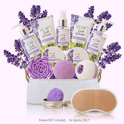Christmas Gifts Baskets for Women Lavender – at Home Spa Kit Soothe Skin and Relax Body Ho ...
