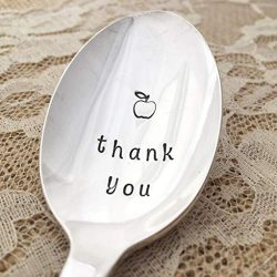 Thank you, Teacher spoon vintage hand stamped, by Lorelei Vella, floral