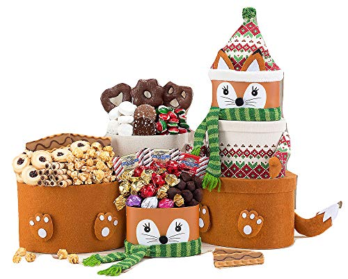 Winter Fox Holiday Gift Tower. Cookies Chocolate Pretzels Candies A Great Confectionery Delight