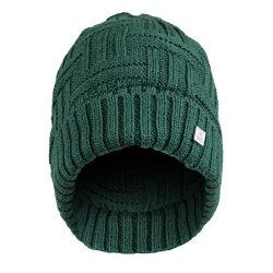 Olann Basket Weave Green Beanie – Irish Knit Beanie Hat Winter Warm Thick Perfect for St P ...