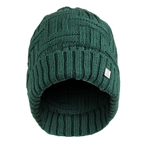 Olann Basket Weave Green Beanie – Irish Knit Beanie Hat Winter Warm Thick Perfect for St P ...