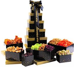 Holiday Nut and Fruit Gift Tower – Gourmet Mix of 12 Assorted Nuts & Dried Fruit Snacks in I ...