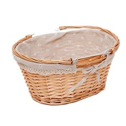 Oypeip Wicker Basket Gift Baskets Empty Oval Willow Woven Picnic Basket Easter Candy Basket Larg ...