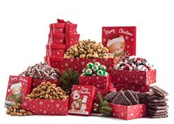 Benevelo Gifts 6 Tier Gourmet Nuts & Snacks Holiday Gift Set | Chocolate Caramel Drizzled Po ...