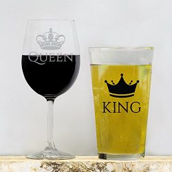 King and Queen Royal Pint Glass and 12 Ounce Wine Goblet with Black and Satin Etch Printed Beer  ...